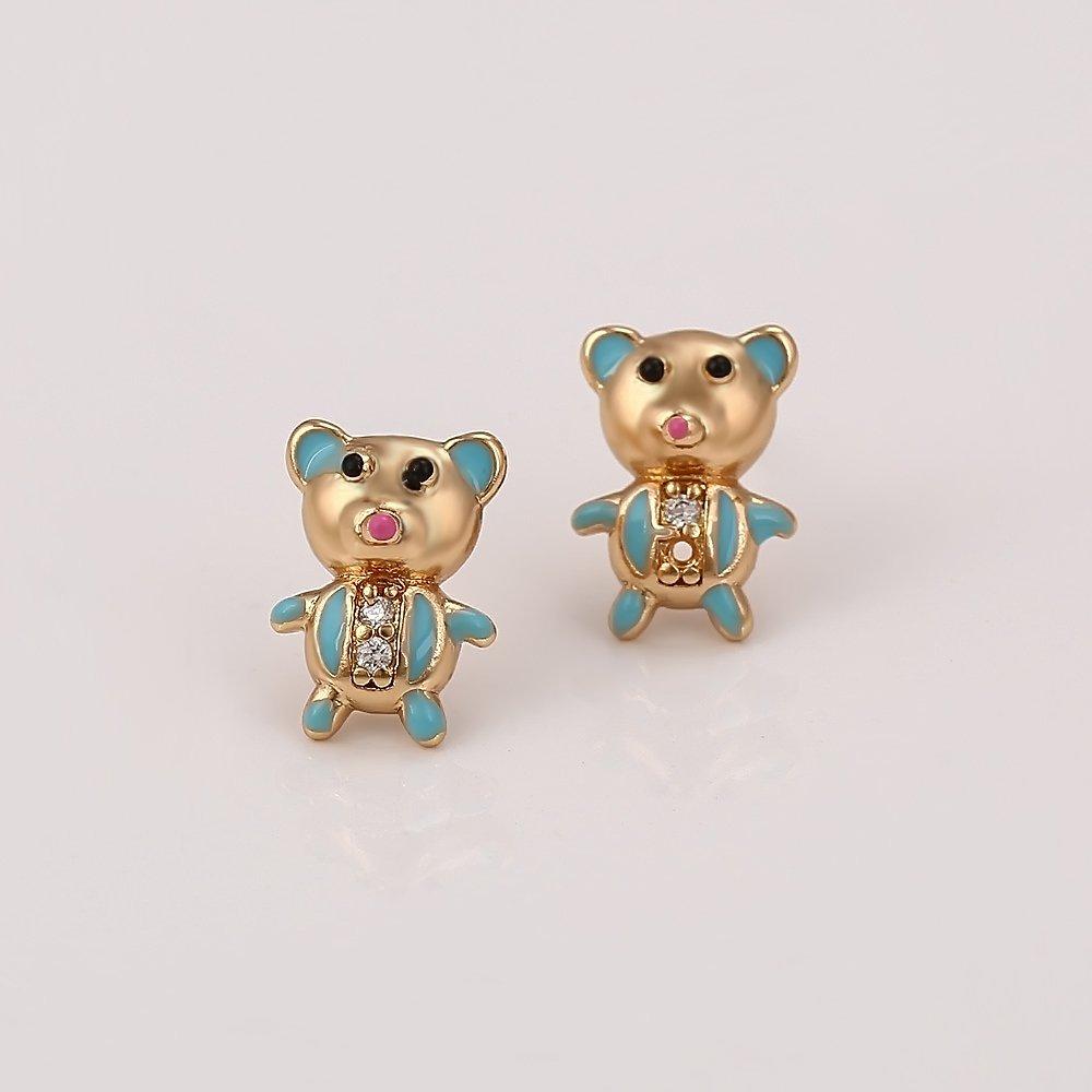 XUPING Colour-plated Or 18 K Forme de Ours Boucles doreilles Collier Bague Bracelet Mode Enfants Bijoux