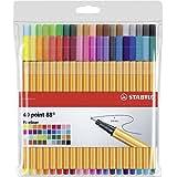 STABILO point 88 - Pochette de 40 stylos-feutres pointe fine - Coloris assortis