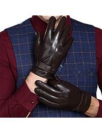 5c781dcc840f1 Gants En Cuir D'Hiver Écran Avec Pour Hommes Fashion Tactile Doublure De  Gants En