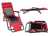 Acecoree Sonnenliege Klappbar mit Kopfkissen und Armlehnen, Belastbarkeit 200 kg Liegestuhl Gartenstuhl Klappstuhl für Garten und Strand (Rot)