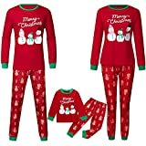 Easong Matching Family Pajamas Christmas Snowman Sleepwear Cotton Kids PJs Merry Christmas Print Pyjamas