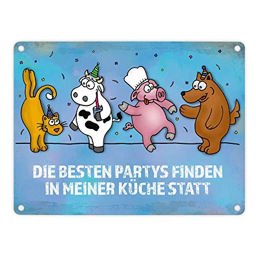 ANVPI Metallschild mit Comic-Motiv und Spruch Party Take Place In My Kitchen 18x25cm