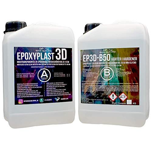 3d-epoxy (1,3 KG Epoxidharz EPOXYPLAST 3D bis 5 CM (50 MM) Gießhöhe Ultra Glasklar 2K EP Rivertisch Rivertable Blasenfrei Klebfrei Epoxi Resin Gießharz Tisch)