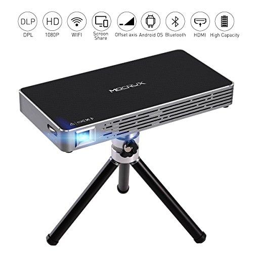 MOCRUX Android 7.1 Mini Projektor 100ANSI Lumen Tragbarer DLP Mini Beamer