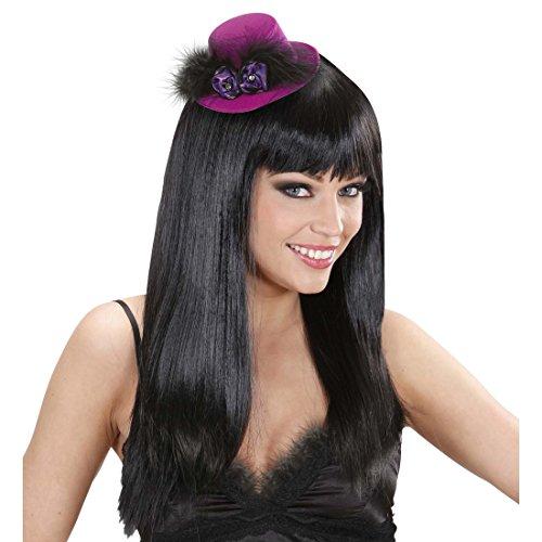 Amakando Burlesque Fascinator Mini Zylinder violett Can-Can Hut Feder Damenhut Kleiner Faschingshut Tänzerin Saloon Girl Zylinderhut