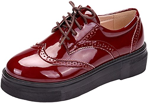 PPXID Femmes Lacets Plate Retro Style Britannique Plate-Forme Casual Chaussures Rouge
