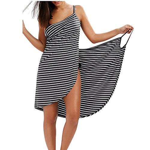ider Große Größen Damen Bikini Cover Up Rückenfrei Schürzenkleid Streifen Sommerkleid Midi Strandtuch Wickeltuch in Urlaub/4XL=EU46-48 ()