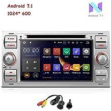 freeauto para Ford Focus II (2005–2007) (2005–2007), C-Max S-Max (2006–2011) Android 7.1Quad Core 7Inch Doble DIN coche reproductor de DVD pantalla táctil HD GPS navegación con cámara de visión trasera (plateado)