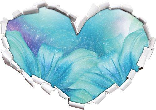 türkise Lilien Kunst Buntstift Effekt Herzform im 3D-Look , Wand- oder Türaufkleber Format:...