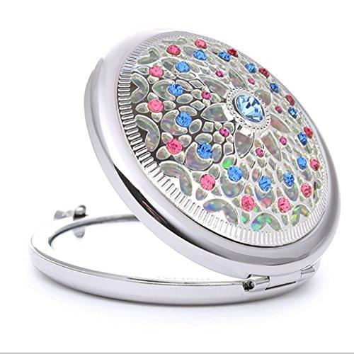 Poche de pliage simple- Miroir Petit miroir métal Miroir double face Foret Crystal Beauty Vanity miroir rond Portable Cadeau Miroir Miroir Dressing Bienvenue