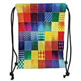 Custom Printed Drawstring Backpacks Bags,Farmhouse Decor,Rainbow Colored Square Shaped Diverse Patterns Collection with Diagonal Forms,Multi Soft Satin,5 Liter Capacity,Adjustable String Closure,