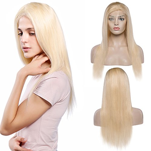 Echthaar Perücke Lace Front Wig Human Hair Blond Wigs 130% Density Remy Haare with Baby Hair #613 Glatt 45cm-180g (Full Lace Perücken Blond)