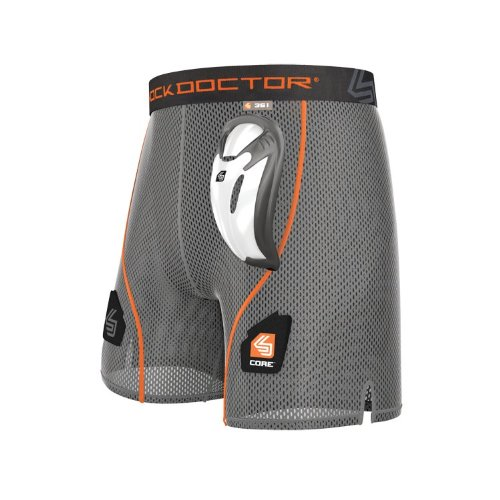(Youth L, GREY) - Shock Doctor Core Loose Hockey Short Supporter w/BioFlex Cup Included, Adult & Youth Sizes -