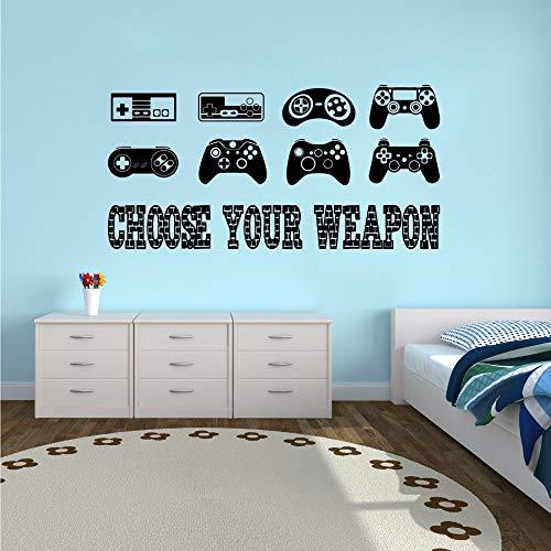 zqyjhkou Abnehmbare Wandaufkleber Gamer Quote Vinyl Wandtattoo Jungen Room Decor Kreative Spiele Wallpaper Controller Aufkleber Ay1334 57x28 cm