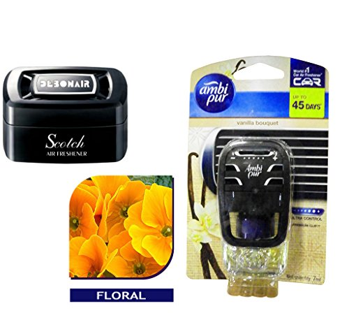 Debonair Combo - Scotch 35gm Premium Car/Home/Office Air Freshener Gel - Floral& Ambi Pur Starter Kit 7. 5 ml - Vanilla Bouquet  available at amazon for Rs.570