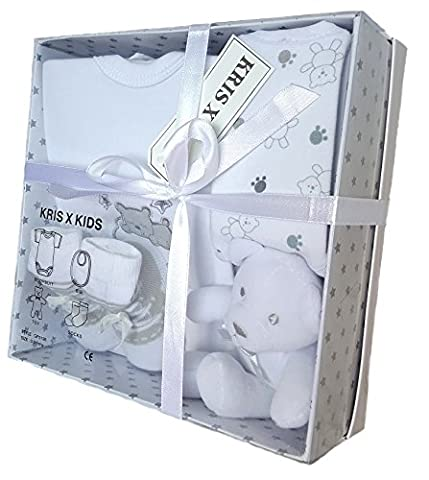 Baby Gift Set with Bodysuit, Bib, Toy, Socks in a Gift Box - Size 0-3 Months. White Teddy