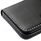 #8: AlexVyan Pocket Sized Stitched Leather Case Card Holder - Black