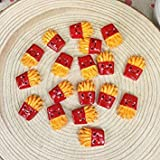 10 Pieces Miniature Cute French Fries Food Kawai DIY Flatback Resin Cabochons Flat Back Resins Cabochon for Phone Case 11 * 17MM