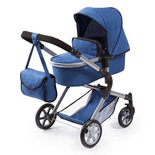 Bayer Design 18135AA Puppenwagen City Neo mit Wickeltasche und Einkaufskorb, umwandelbar in einen Sportwagen, höhenverstellbar, Blau