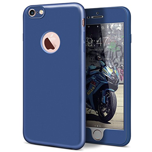 GrandEver iPhone 6S Plus Hülle, iPhone 6 Plus Weiche Silikon Handyhülle 360 Grad Schutz TPU Bumper Full Body Komplettschutz Schutzhülle für iPhone 6 Plus/iPhone 6S Plus Rückschale Klar Handytasche Ant Blau
