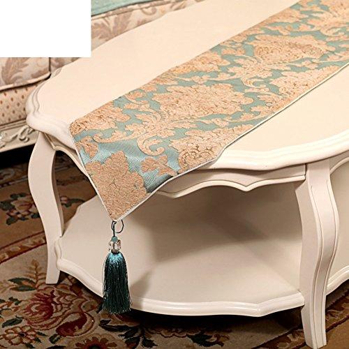 ZQ STORE Chemin de table européen,Luxe linge table table basse flag,Drapeau de queue lumineuse verte anti-dérapant simple lit-A 35x240cm(14x94inch)