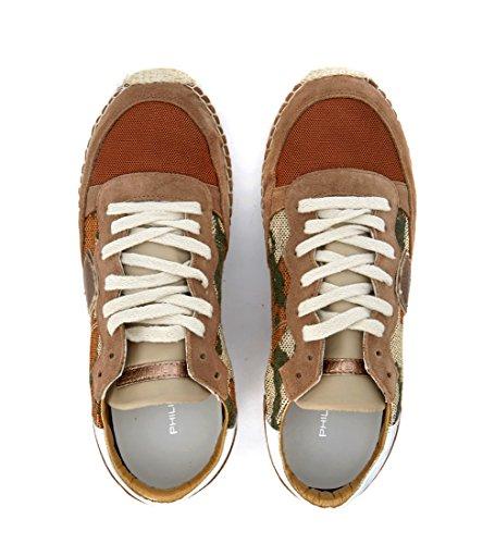 Sneaker Philippe Model Saint Tropez in camoscio e tessuto bicolore Marrone