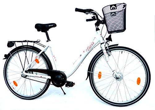 "BIRIA Damen Cityrad Citybike CTB 26"" Zoll (=66cm) 3 Gang SHIMANO Aluminiumrahmen StVZO-Ausstattung Korb weiß"