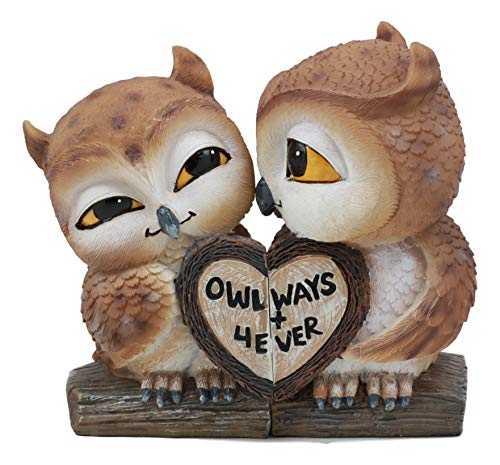 Ebros Dekofigur Eulenpaar, romantisch, Küssende Liebe, 2-teiliges Set, Dekofigur, Valentinstag, Vögel, Eulenpaar, mit Herz-Schild, Spruch Eulen 4Ever