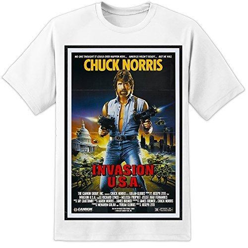 Chuck Norris Klassisch Retro Invasion USA Filmposter T-Shirt (S-3XL) Wunderbar Riesige Hochwertig Druck - Weiß, X-Large