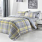 yellow check duvet quilt cover pillowcases double by pieridae