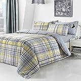 Yellow Check Duvet Reversible Quilt Comforter Cover + PillowCases King (3 Sizes Avaliable)