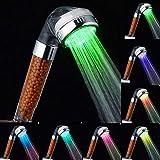GOTOTO Soffione Doccia a LED 3/7 Colori Cambiano Casualmente, LED doccetta Acqua soffione a Mano con Filtro, Rimuovere Il Cloro e Le impurità nell'Acqua, Risparmio idrico, in ABS(7 Colori)