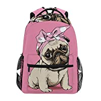 Puppy Pug School Backpack Large Capacity School Bag Canvas Casual Travel Daypack Perfect for Women Men Girls Boys