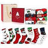 Emooqi Calcetines de Navidad, Calcetines de Algodón de Navidad Calcetines Térmicos de Navidad Regalo de Navidad con Exquisita Caja de Regalo y Bolsa de Regalo Para