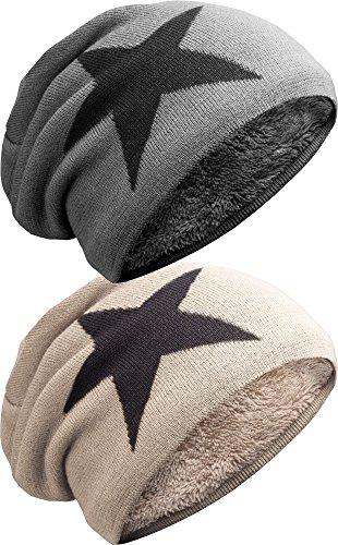 NavyBlu® unisex langes Slouch Beanie Mütze in Feinstrick mit Teddyfleece Innenfutter Stern SetA M2