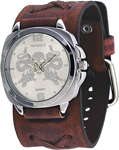 Nemesis #BFXB910S Men's Serpent Skull Emblem X Cross Wide Leather Band Watch