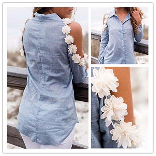 Damen Elegant Bluse weg von der Schulter Langarm Tops Pullover T-Shirt Blau
