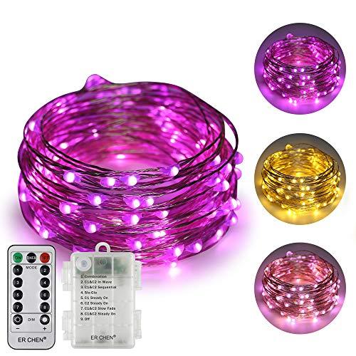 ErChen batteriebetriebene Zweifarbige Led Lichterketten, 33 FT 100 Leds Farbe ändern Dimmbar 8 Modi Silber Kupfer Draht-Lichterketten mit Fernbedienung Timer für Innen Außen (Warmweiß, Lila)