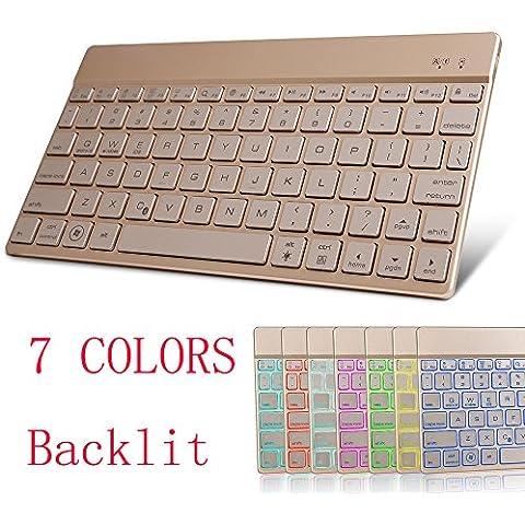 kvago Univeral Teclado Bluetooth inalámbrico con 7colores luz portátil Ultra Delgado Ligero y compacto Teclado Retroiluminado para iOS Android Windows PC Tablet Smartphone dorado dorado Backlit Keyboard