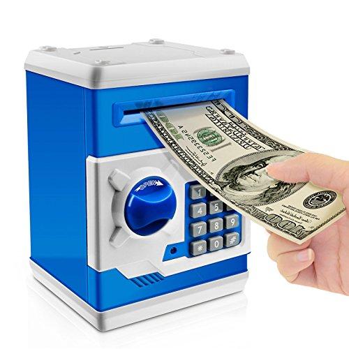 Jhua Kinder Geld Banken Smart Geld Sparen Box Elektronische ATM Passwort Bank Musikalische Stimme für Kinder Geschenk (Blau) (Atm-geld-box)
