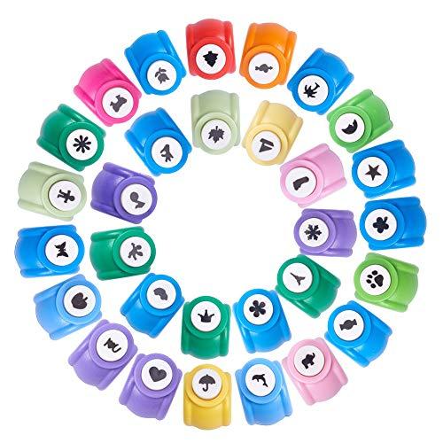 ll Elite 30Stück Mini Kunststoff Craft Stempel Papier Locher für Scrapbooking & Papier Handwerk, gemischte Farben, 30Formen ()