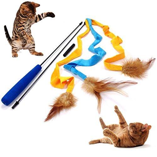 3Soft Strähnen mit Federn Teaser und Trainingsgerät für Katzen und Kätzchen–Katze Spielzeug Interaktives Katze Zauberstab