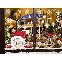 Heekpek 358 piezas Pegatina de Ventana de Navidad Pegatina de Copo de Nieve Doble Cara Visible Adhesivo Papá Noel Alce Linda Reutilizable Pegatinas Decorativas de Navidad Adhesivo de Invierno