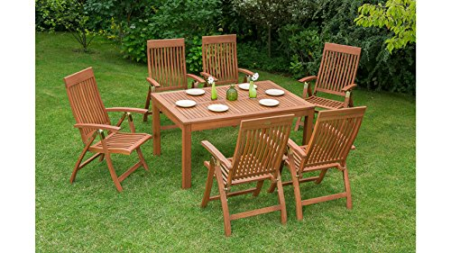MERXX Gartenmöbelset Commodoro, 7tlg, 6 Sessel, Tisch, klappbar, ausziehbar, Eukalyptus Natur
