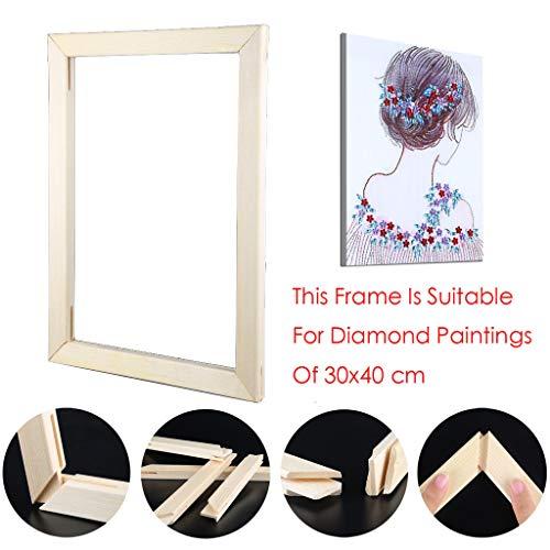 Riou DIY 5D Diamant Painting Zubehör DIY 5D Diamant Malerei Rahmen Bilderrahmen Kreuzstich Stickerei aus Holz Crystal Strass Handwerk für Home Wand Decor gemälde (30X40cm) -