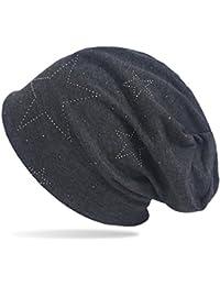 GROJADORI Strick Beanie Mütze mit glitzer Strass Sterne Allover Print
