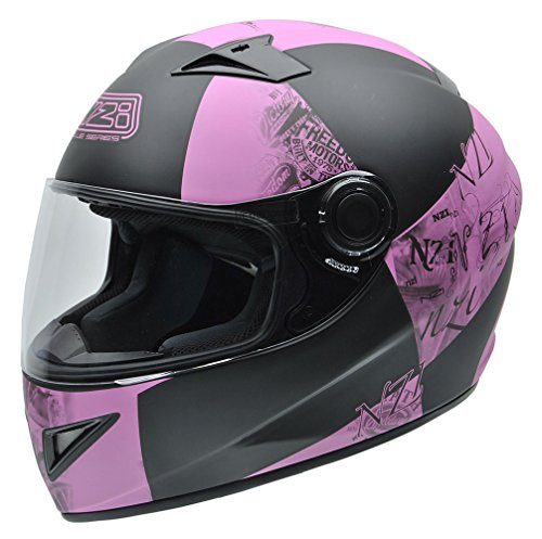 NZI 150196G678 Must Multi Victory Casco de Moto, Color Negro y Rosa, T