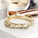 FFLLAS Armband Fashion Alloy Diamond Moon Öffnet Vier Teilige Armband-Set-Dekoration,Gold
