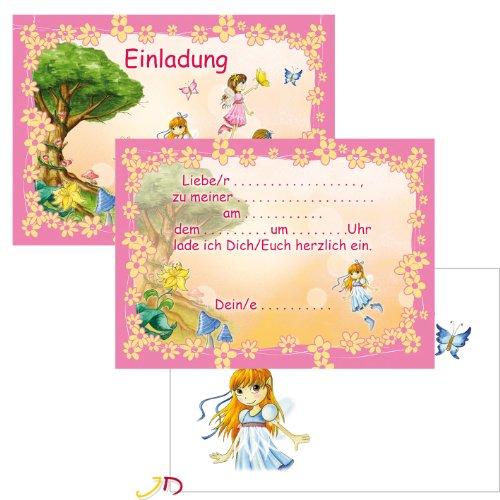 12-teiliges Einladungen-Set * FEEN & ELFEN * mit 6 Einladungskarten und 6 Umschläge für Kindergeburtstag // Kinder Geburtstag Party Einladung Karten Fee Elfe Rosa Pink Mädchen