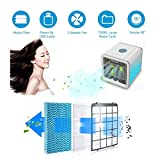 Mobiles Klimageräte Mini Tragbare Klimaanlage Luftkühler Air Cooler, 3 in 1 Klimaanlage Ventilator, Luftbefeuchter und Luftreiniger [USB Anschluß, Einstellbare 7 Stimmungslichter, 3 Windgeschwindigkeit] - 2